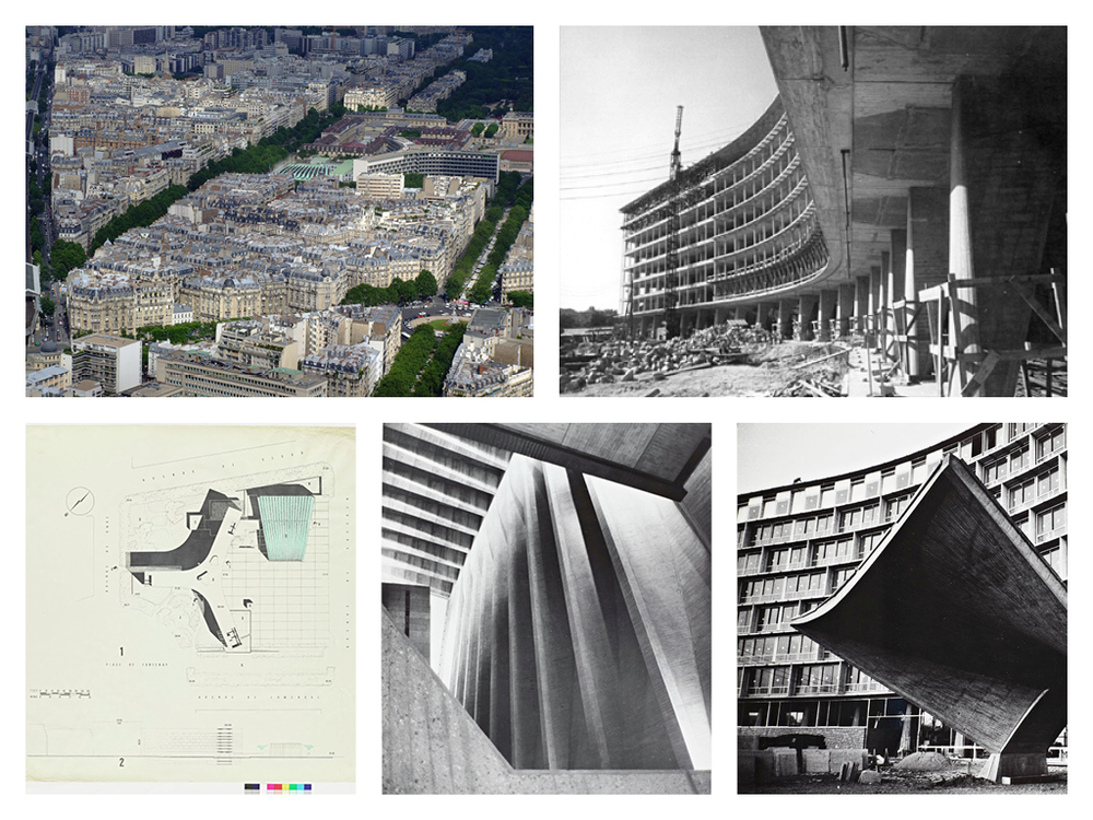 Unesco headquarters, 1958. Architects: Bernard Zehrfuss, Marcel Breuer, Pier Luigi Nervi.  Source:  Link