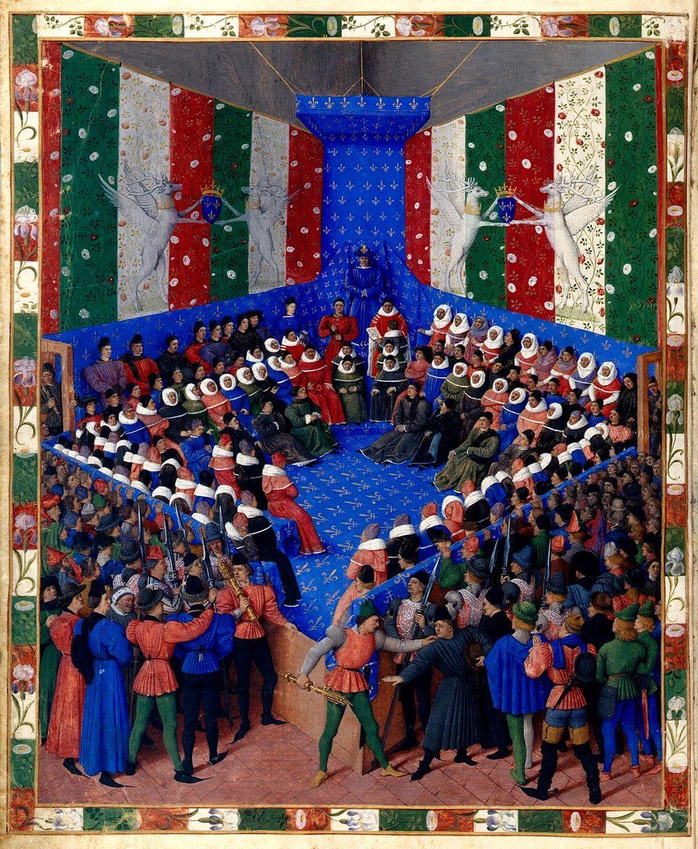 Jean Fouquet,  Lit de justice du roi Charles VII au parlement de Paris,  en 1450, Boccace de Munich  Source: Wikimedia -  Lien