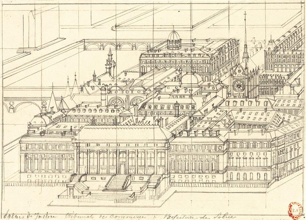 Axonométrie de Hubert Clerget du Palais de Justice - tribunal de Commerce - Préfecture de Police, 19e siècle.  Source: BnF - Lien