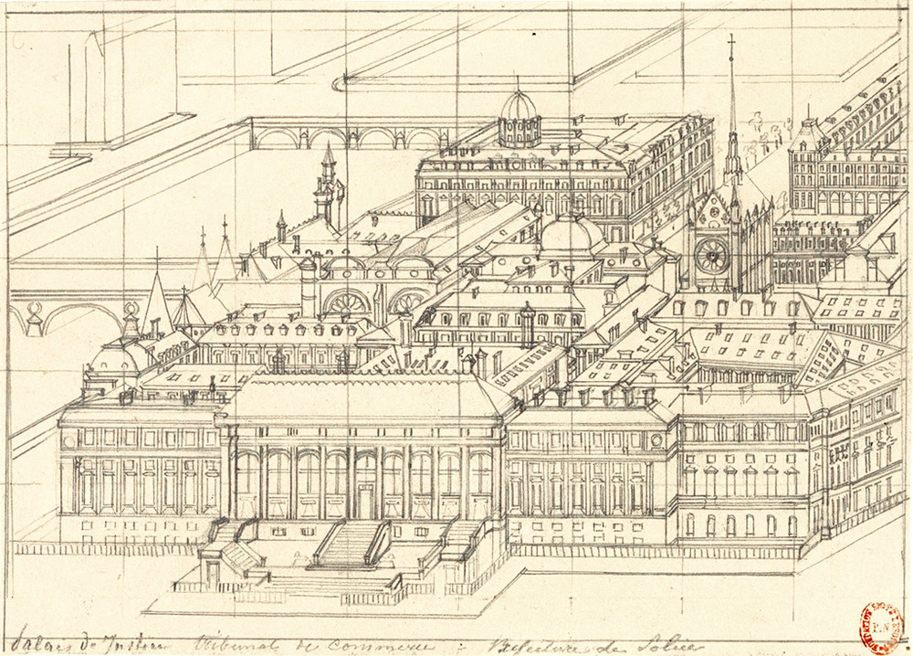 Axonometry of Hubert Clerget of the Palais de Justice - tribunal de Commerce - Préfecture de Police, 19e century.  Source:  Lien