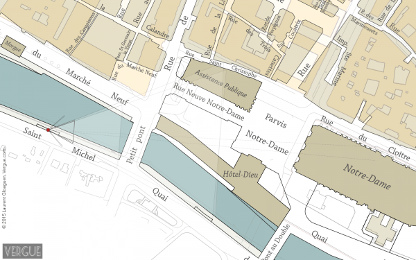 Position de Charles Marville. En beige, les bâtiments anciens; en ocre, les bâtiments actuels.