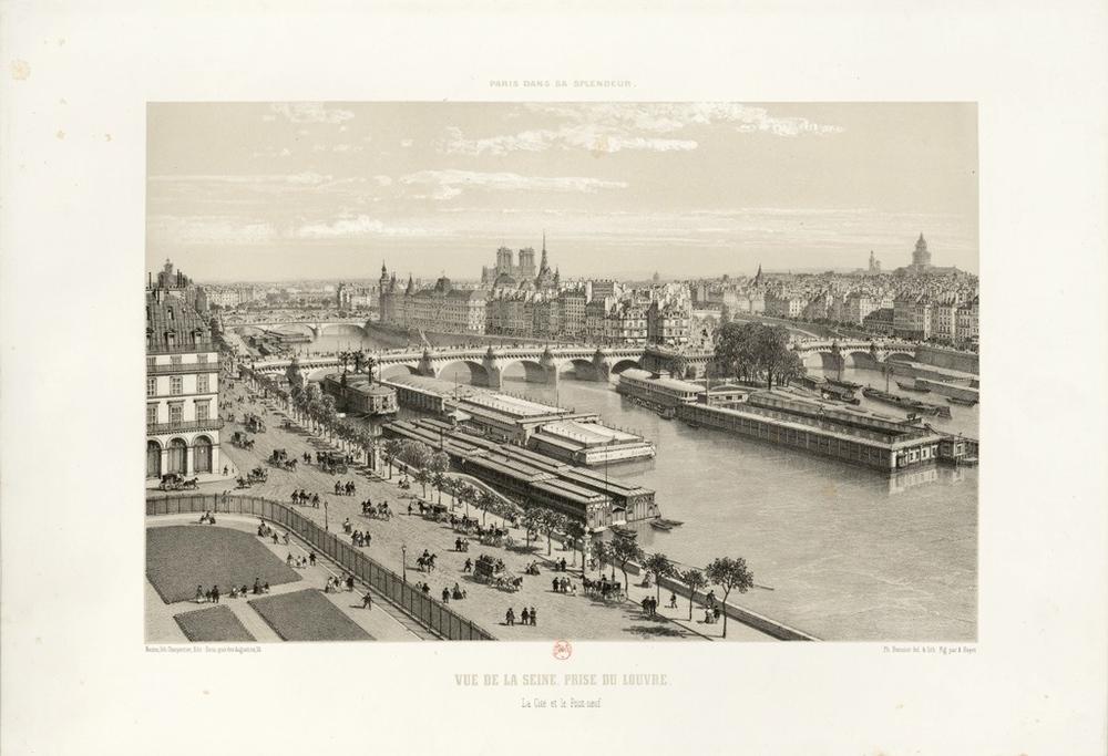 Vue de la Seine, prise du Louvre La Cité et le Pont-Neuf, estampe de Ph. Benoist et A. Bayot.  Source: BnF -  Lien