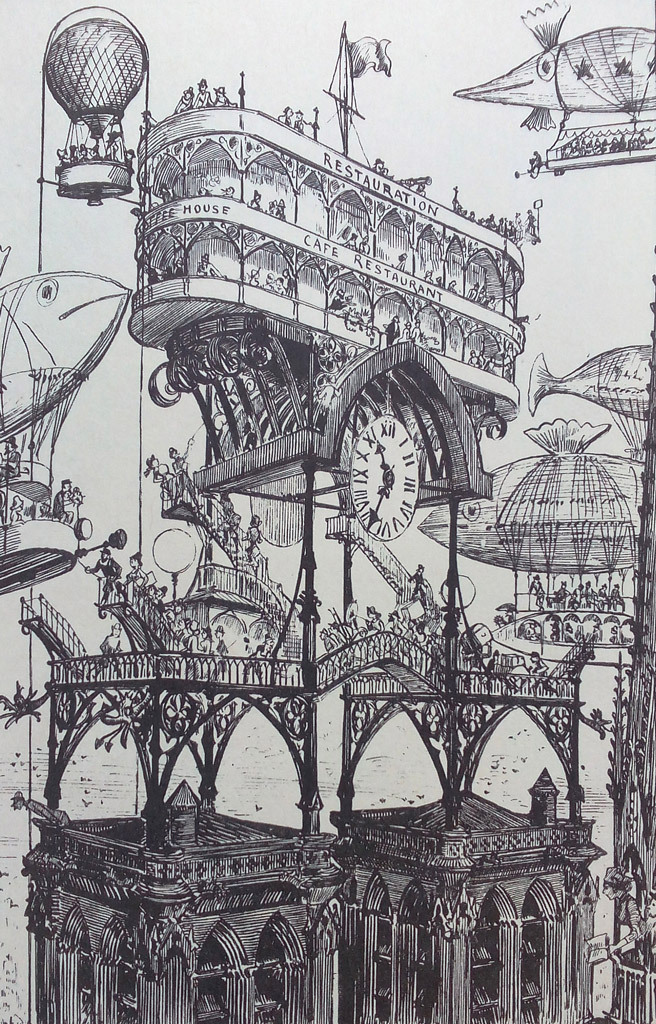Albert Robida (gravure)  Dans  Le Vingtième Siècle , Paris, G. Decaux, 1883. In-8° Crédits: Gallica - Bnf Source: Lien