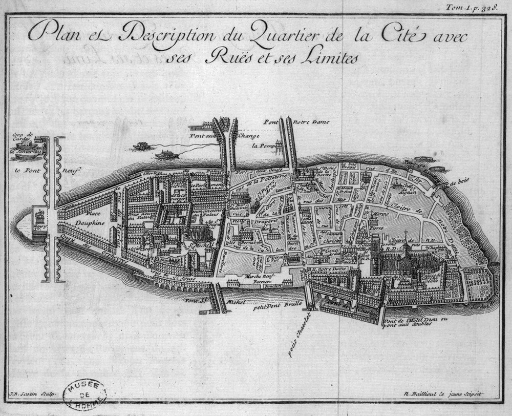 "Jean-Baptiste Scotin (1678-17..) Description de Paris, de Versailles, de Marly, de Saint-Cloud, de Fontainebleau et de toutes les autres belles maisons et châteaux des environs de Paris"" / Jean Aimar Pigagniol de la Force, Paris, Théodore Legras, 1742  Source: BnF -  Lien"