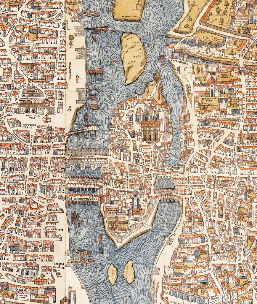 Olivier Truschet et Germain Hoyau, 1550-1552 (vue de Paris) et 1553 (édition)  Source: Wikimedia - Lien