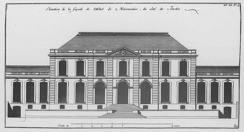 Arch. Jean Courtonne. Façade de l'hôtel de Noirmoutier, ou hôtel de Sens, actuellement résidence du préfet de région, 1723 Source: BnF -Lien