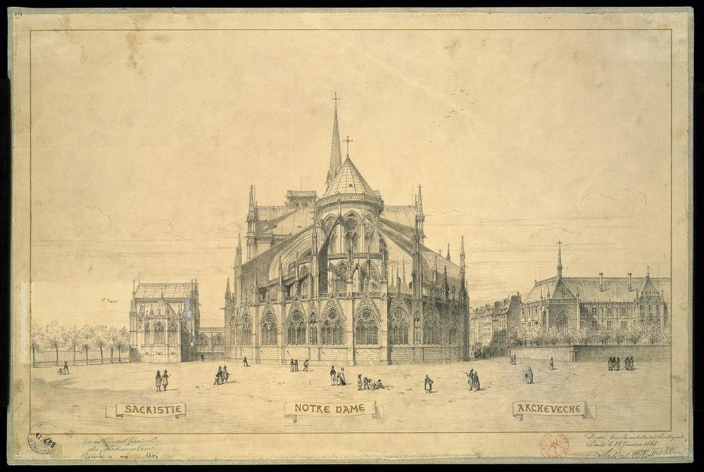 Cathédrale Notre-Dame de Paris, projet de sacristie et d'archevêché adopté le 28 janvier 1843. Architecte: Eugène Emmanuel Viollet- Le Duc (1814-1879)  Source:  Lien   © Reproduction Philippe Berthé / CMN