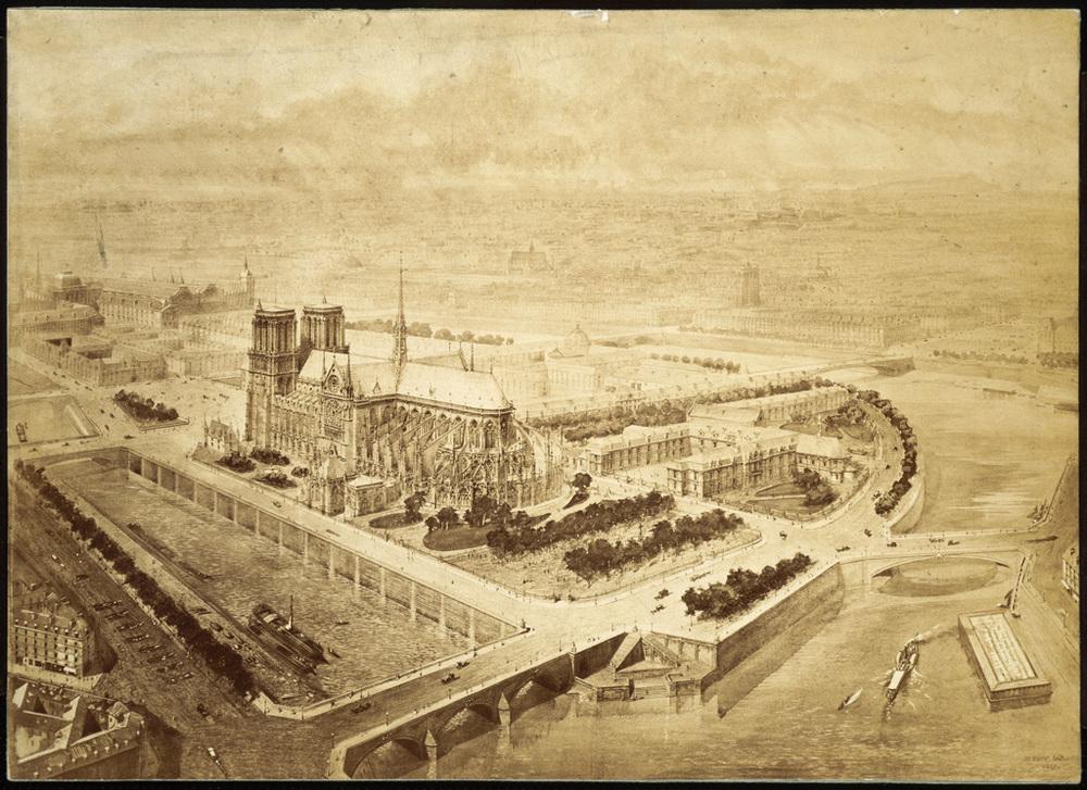 Projet de palais de l'archevêché de Paris - 1859 Source:  Lien