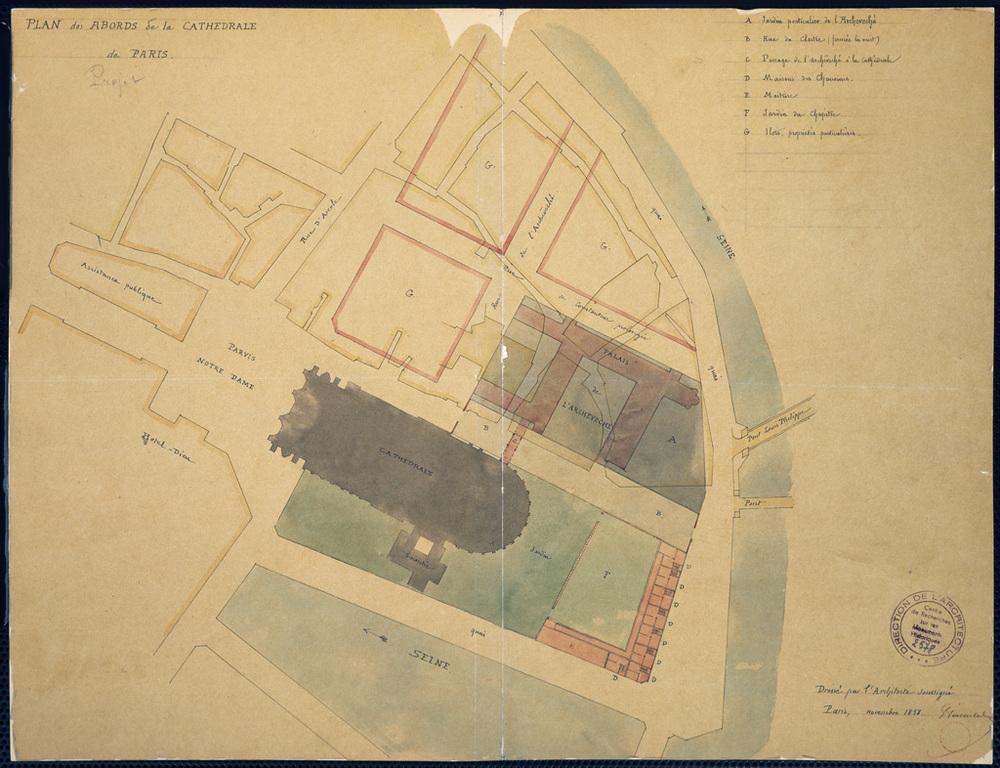 """""""Plan des abords de la cathédrale de Paris"""" (Projet) - 1858 Source: Lien"""