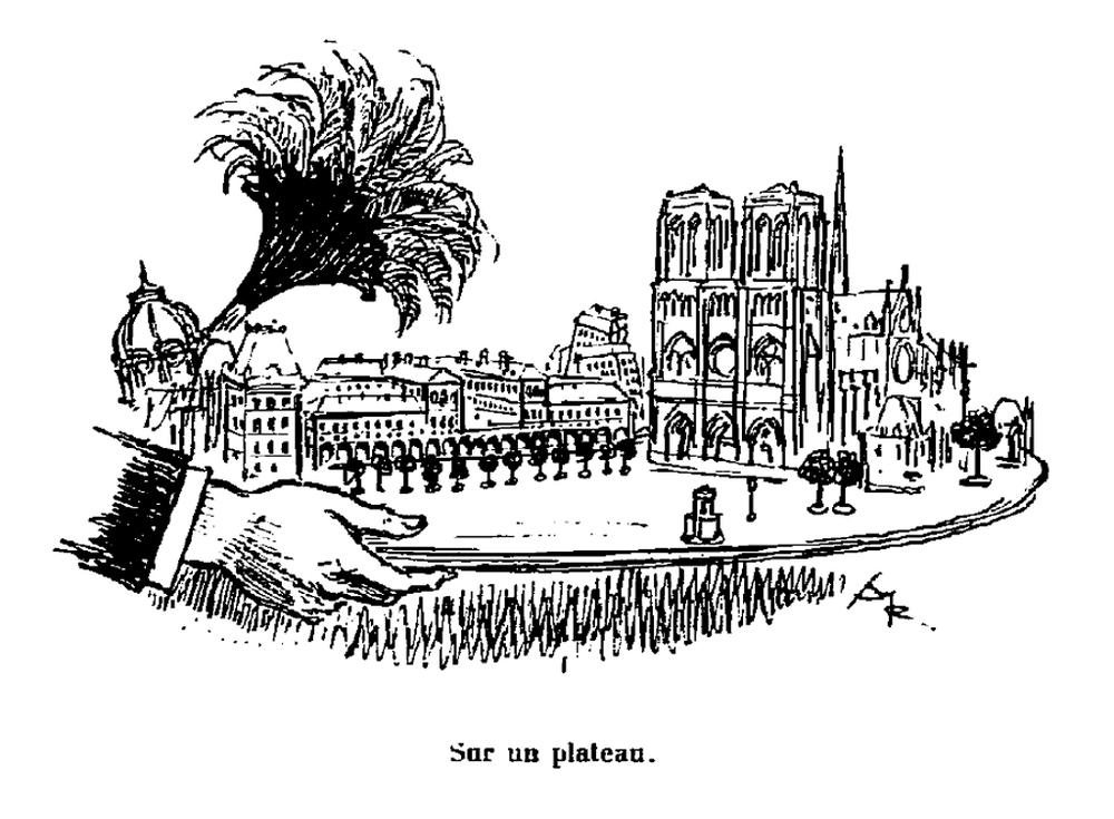 Albert Robida (1848-1926),   L'île de Lutèce : enlaidissements et embellissements de la Cité (Paris:H. Daragon, 1905), p. 41  Crédits: Gallica - BnF Source:  Lien