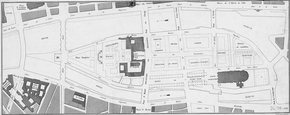 Plan de la Cité / Dessiné par A. Portret, 1862 Crédit : BnF - Gallica Source : Lien