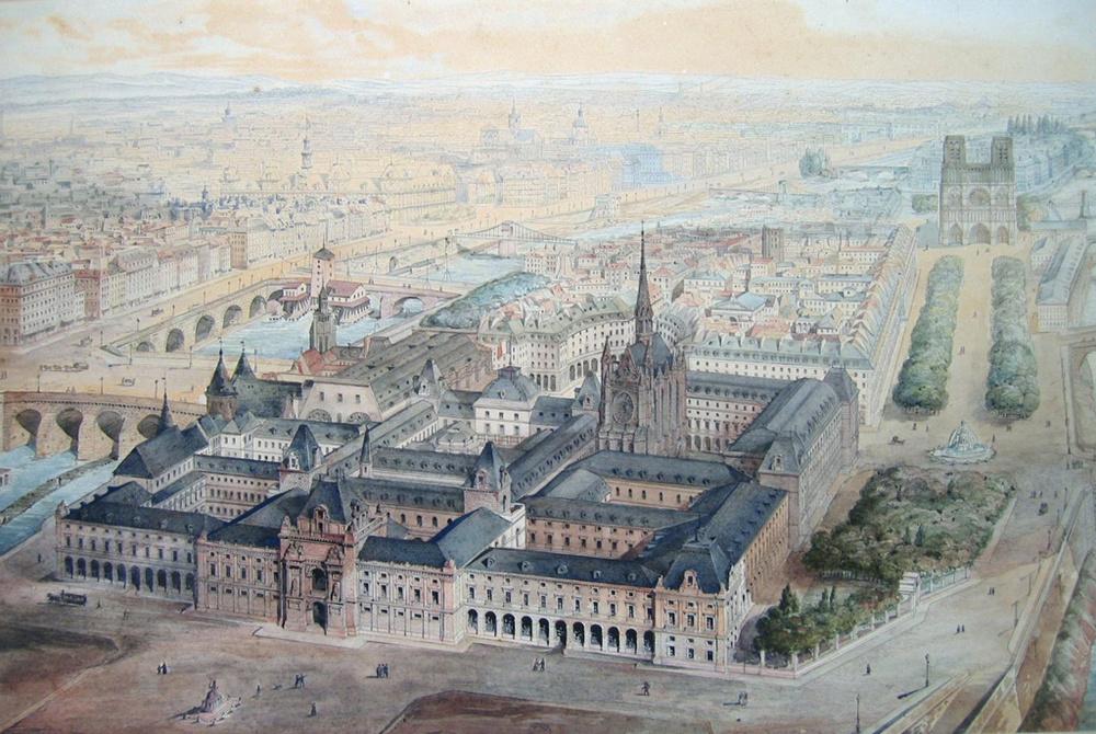 Palais de Justice de Paris. Vue générale du projet approuvé par le conseil général de la Seine du 28 octobre 1838  Architecte : Jean-Nicolas Huyot  Sources :  Collection Paris Musées