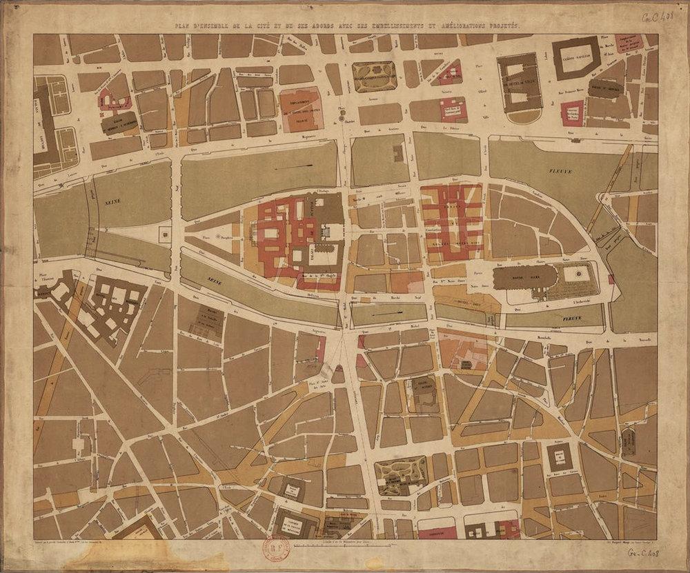 Plan d'ensemble de la cité et de ses abords, avec ses embellissements et améliorations projetés, frères Avril, 19e  Crédits: BnF - Gallica  Source:  Lien