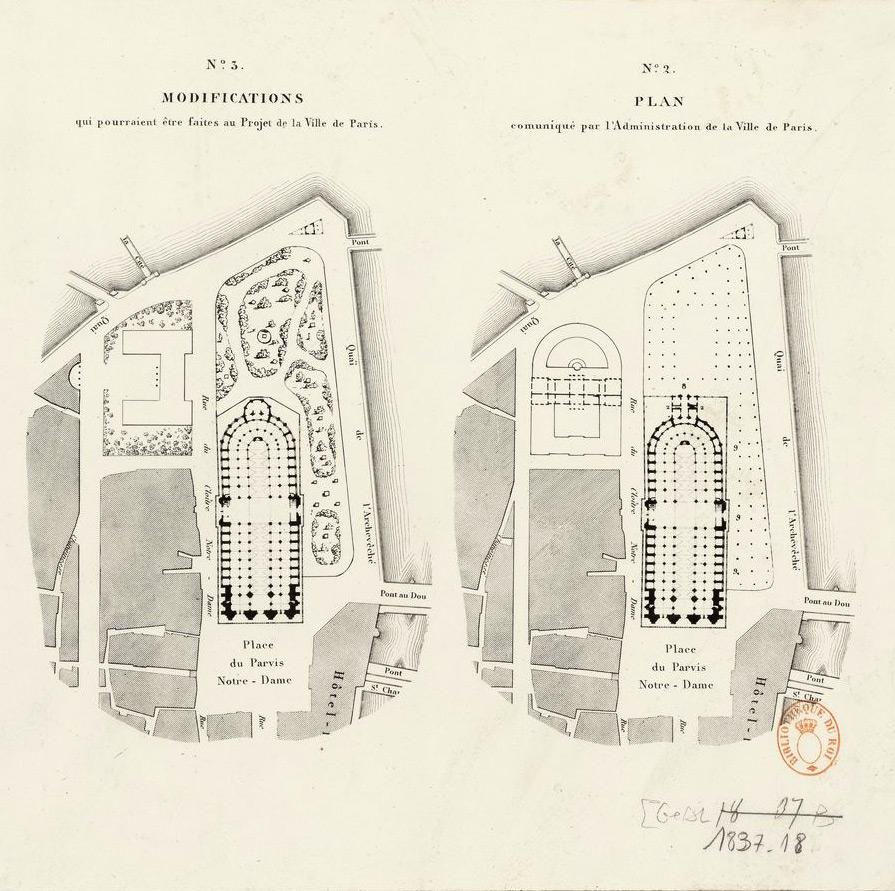 Plans proposés pour la construction de l'archevêché de Notre-Dame de Paris, lith. de Letronné,1837. Crédits: BnF - Gallica Source: Lien