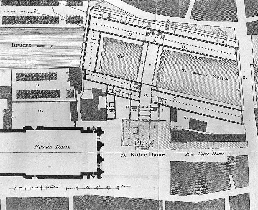 Plan de l'Hôtel Dieu en 1805 Source: Lien