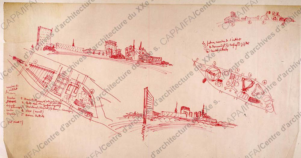 Claude Le Coeur, aménagement futuriste de l'île de la Cité.  Crédits: SIAF / Cité de l'Architecture et du Patrimoine / Archives d'architecture du XXe siècle  Source  Lien