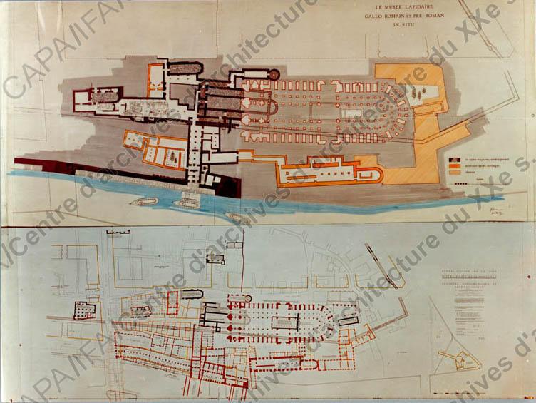 1966-67 Vue de l'étude en plans (non réalisée) Crédits SIAF / Cité de l'Architecture et du Patrimoine / Archives d'architecture du XXe siècle Source Lien