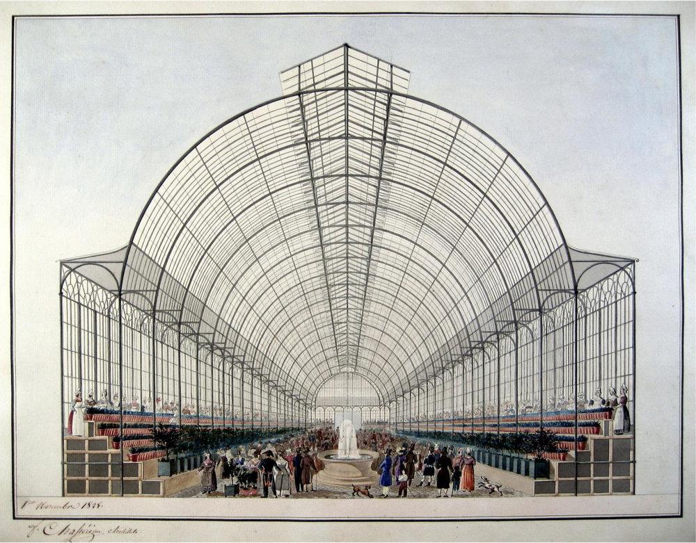 Vue intérieure du projet d'un marché aux fleurs et aux fruits, quai aux Fleurs, 1er novembre 1828. 4ème arrondissement, Frédéric Chassériau.