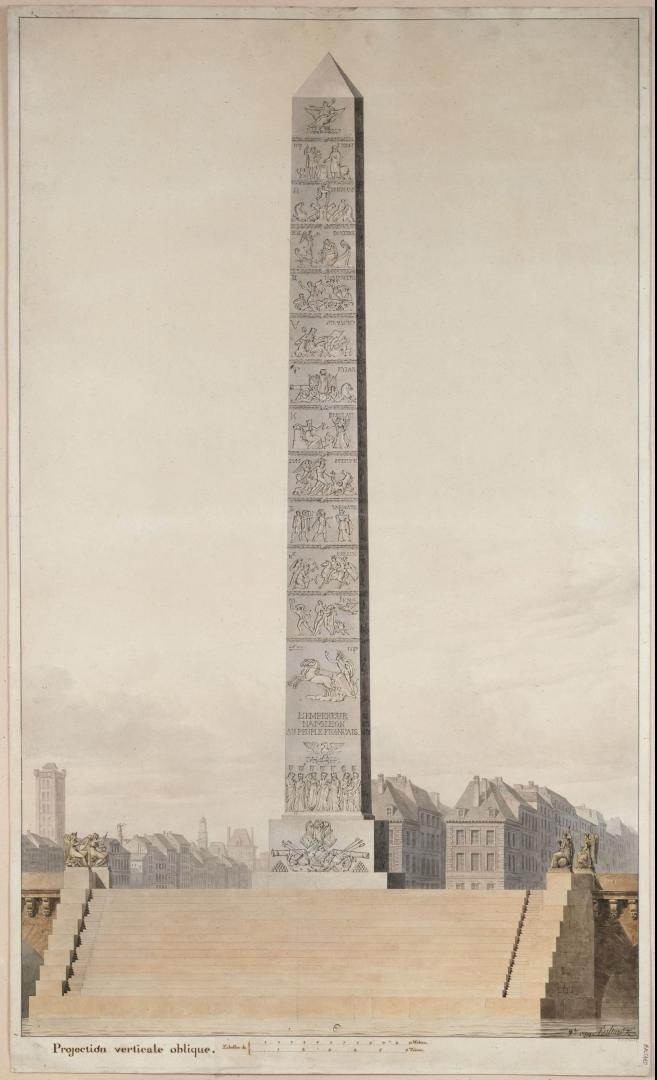 Projet d'obélisque à élever sur le Pont Neuf, 1809. Louis-Pierre Baltard Crédits: Paris Musées Source: Lien
