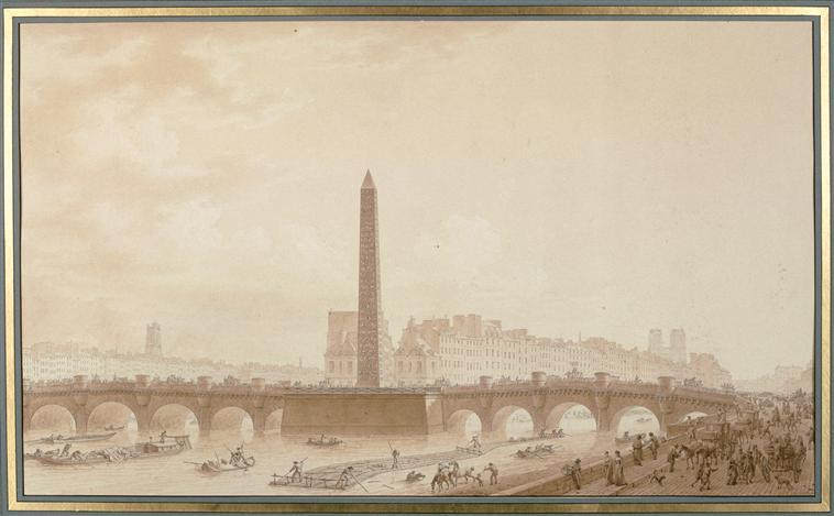 Projet d'obélisque sur le Pont Neuf; vue de l'île de la Cité, 1809. Benjamin Zix (1772-1811) Crédits: ArtRMN-GP Source