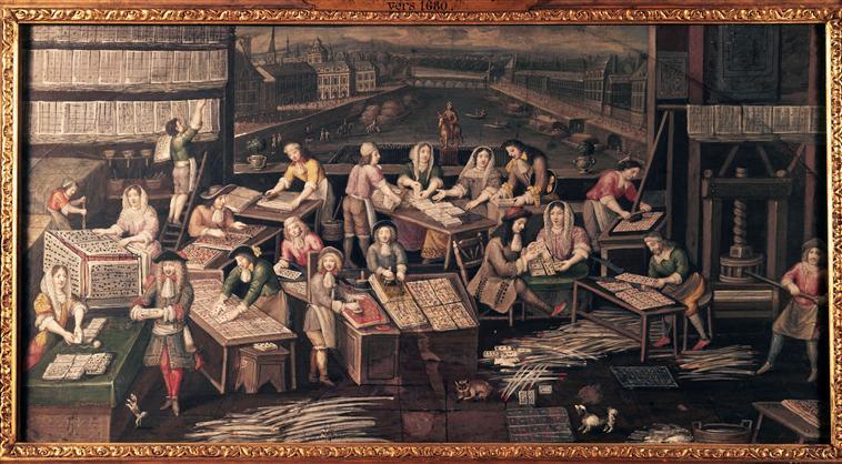 Anonyme, Manufacture de cartes à jouer dans une maison de la place Dauphine vers 1680 Musée Carnavalet Source: Lien