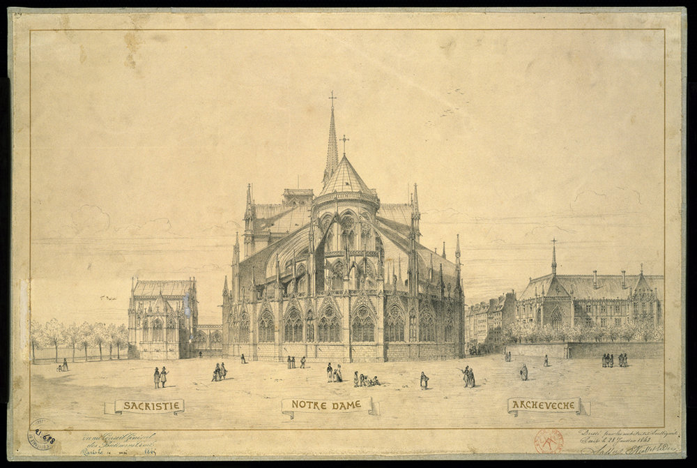 Cathédrale Notre-Dame de Paris, project of sacristy and residence of the Archbishop adopted on January 28th 1843. Architect: Eugène Emmanuel Viollet- Le Duc (1814-1879)  Source:  Lien   © Reproduction Philippe Berthé / CMN