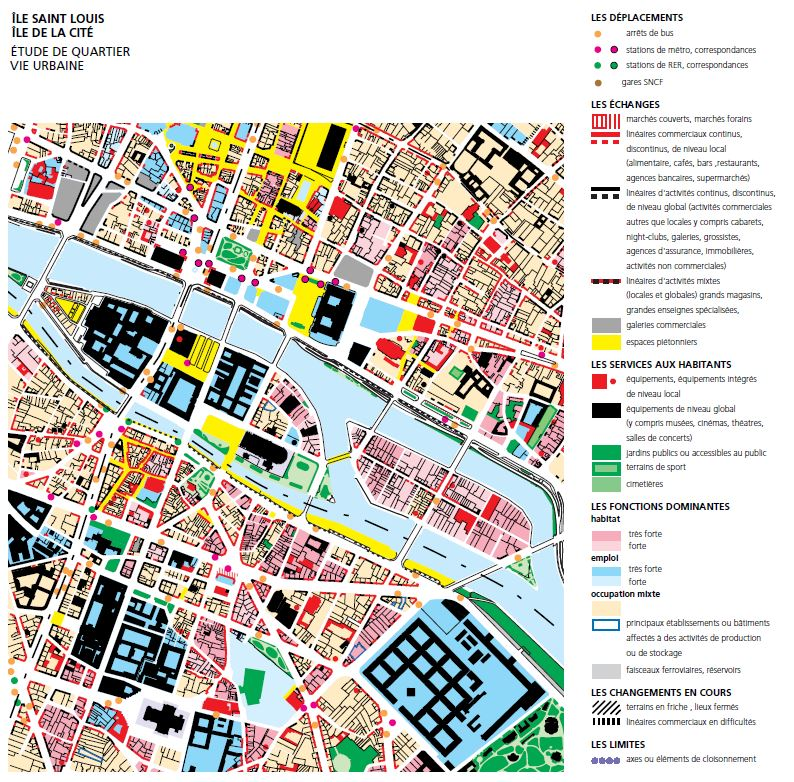 "Analytic map exctrated from the study ""Ile Saint-Louis et Ile de la Cité. Diagnostic urbain et patrimonial""   Source:   Lien"
