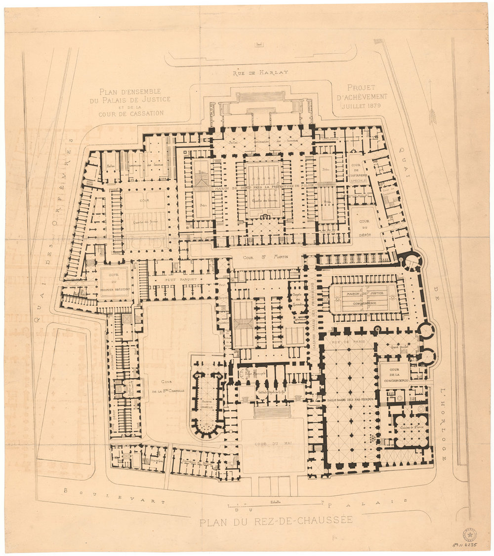 General plan of the Courts of Justice and of Cassation (Paris). project for the completion of the building July 1879: groundfloor.   1896