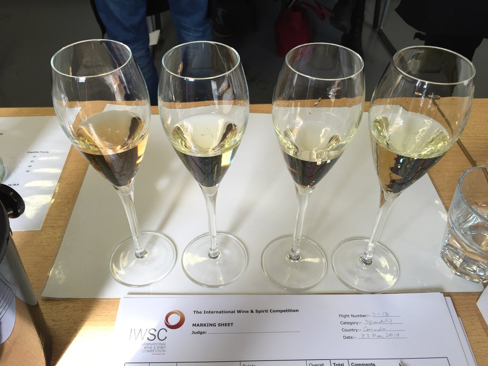 A flight of sparkling wines from BC's Okanagan Valley
