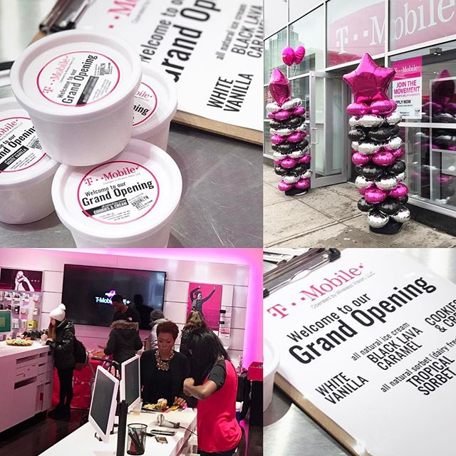 It's a mid day party. Doing it right. Grand Opening @tmobile 2166 Nostrand #brooklyn 'round the corner #brooklyncollege Feels good to be back in #thejunction #bkbell #icecream #local Grab a cup #blacklavacaramel  #cookiesandcream #whitevanilla #tropicalsorbet