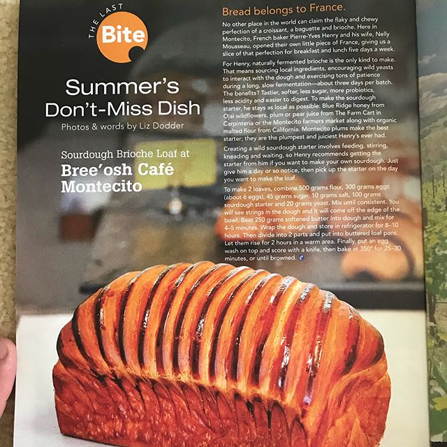 So honored that our sourdough brioche loaf be featured this summer in #ediblemagazine thank you so much Liz @calicoastwine for your pic and this great article. #edible #breeoshcafe #pierrelebaker #breeoshbakery #summeredition #sourdough #loaf
