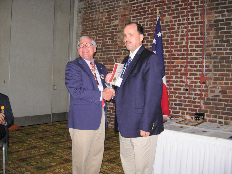 MOSB MEMBER GEORGE VALSAME RECEIVED AN AWARD DURING THE NATIONAL CONVENTION OF THE MILITARY ORDER OF THE STARS AND BARS, WHICH WAS HELD IN WILMINGTON FROM JULY 6-8, 2017.