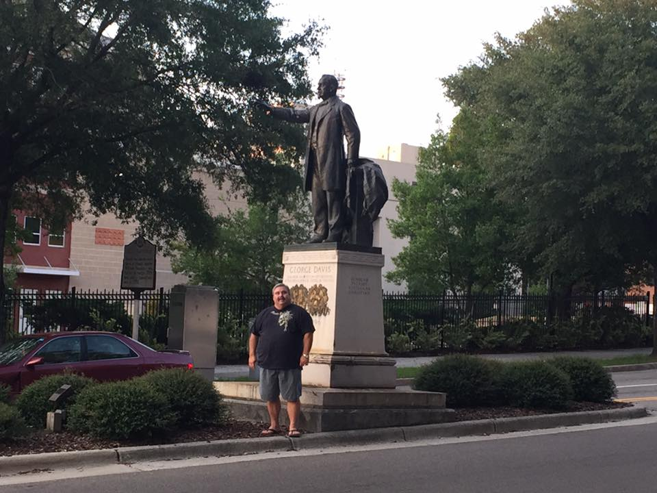 MEMBERS OF GEORGE DAVIS CAMP 5 SCV AND THE PENDER COUNTY GRAYS SCV CAMP CHECKED THE CONFEDERATE MONUMENTS IN DOWNTOWN WILMINGTON TO ENSURE THEY WERE SAFE AND UNDAMAGED.  THE GEORGE DAVIS MONUMENT WAS CLEAN AFTER RECENT VANDALISM.