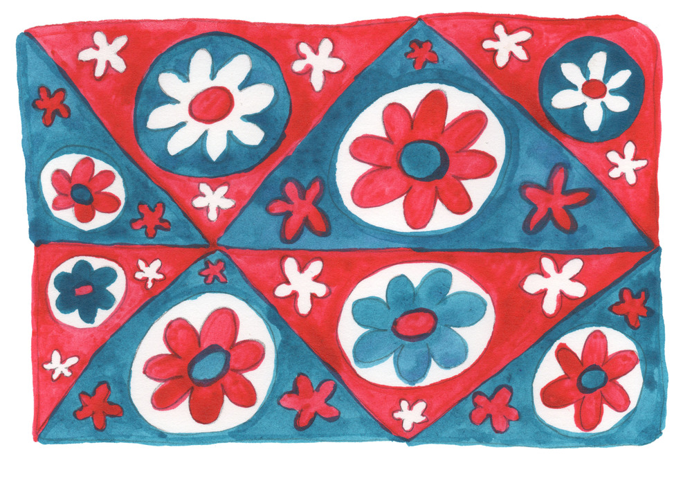 red flower quilt
