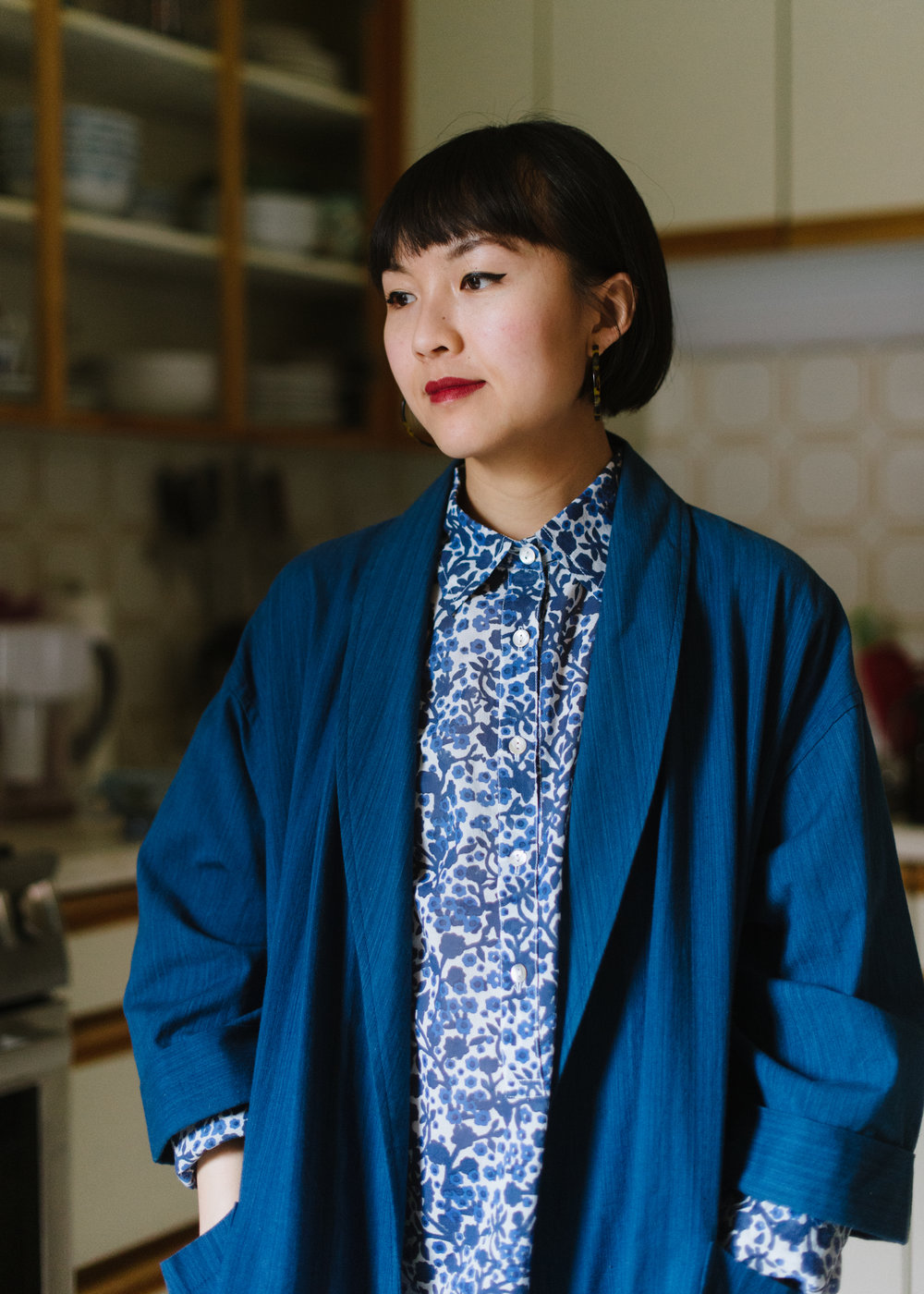 Love how  Justine  styled her  Katherine Shirt Dress  with her jacket from  Blue Blue Japan