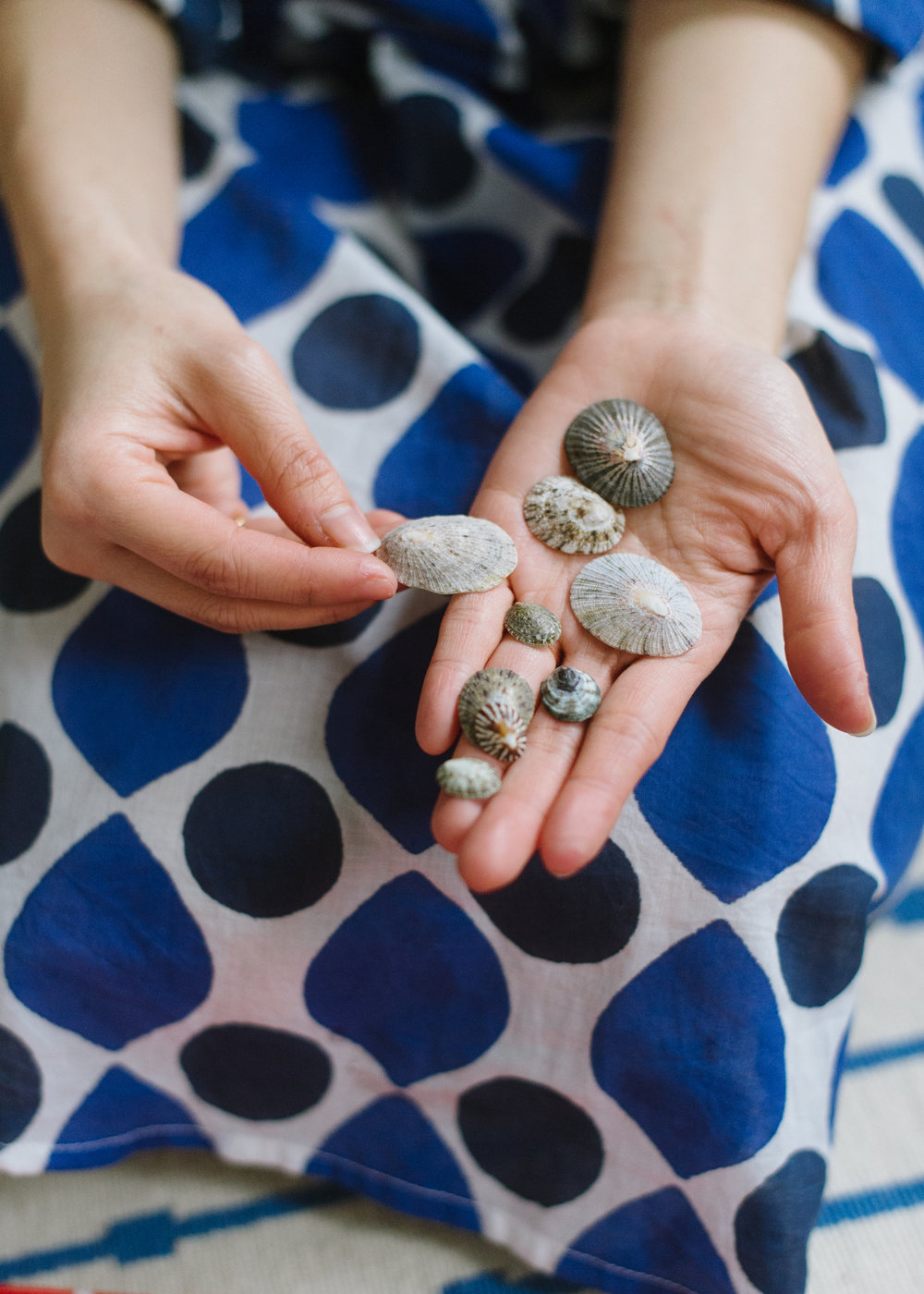 Justine 's beautiful treasures from Japan (wearing her  Katherine Shirt Dress in Blue Drops )