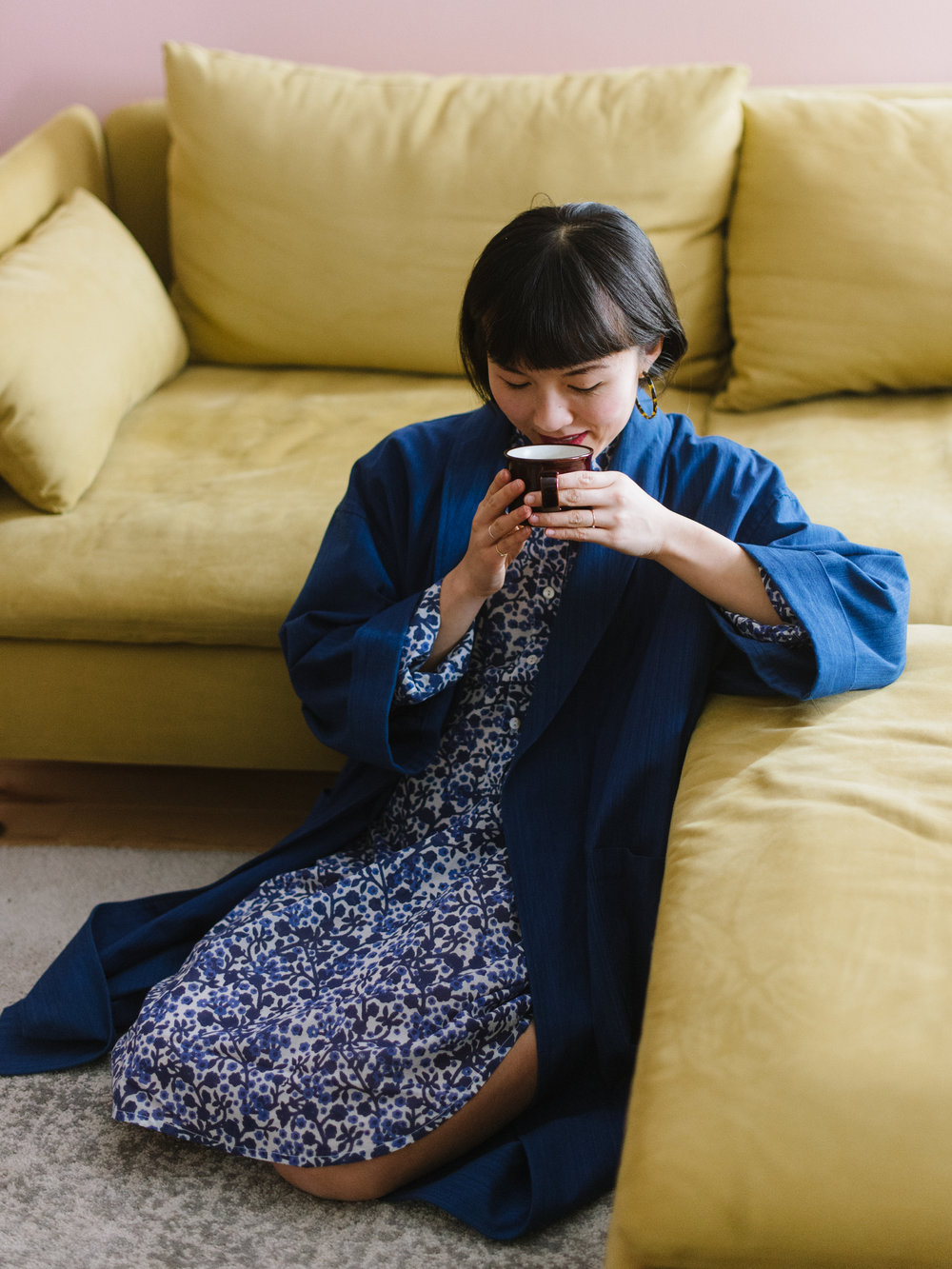 A moment for tea in her  Katherine Shirt Dress  and her  Blue Blue Japan  jacket