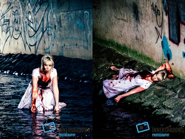 Murder themed shoot in a Bristol underpass. Fuji XT-1 and Fuji 50-200mm lens