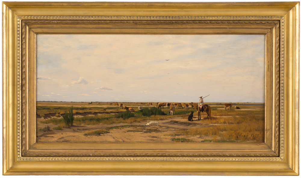 "Thomas Allen (1849-1924), A Prairie Scene with Mexican Herdsmen and Cattle, 1879, 16"" x 32.5"", oil on canvas. Courtesy Rainone Galleries, Inc. Arlington, Texas. High Resolution image by David Wharton Photography of Fort Worth."