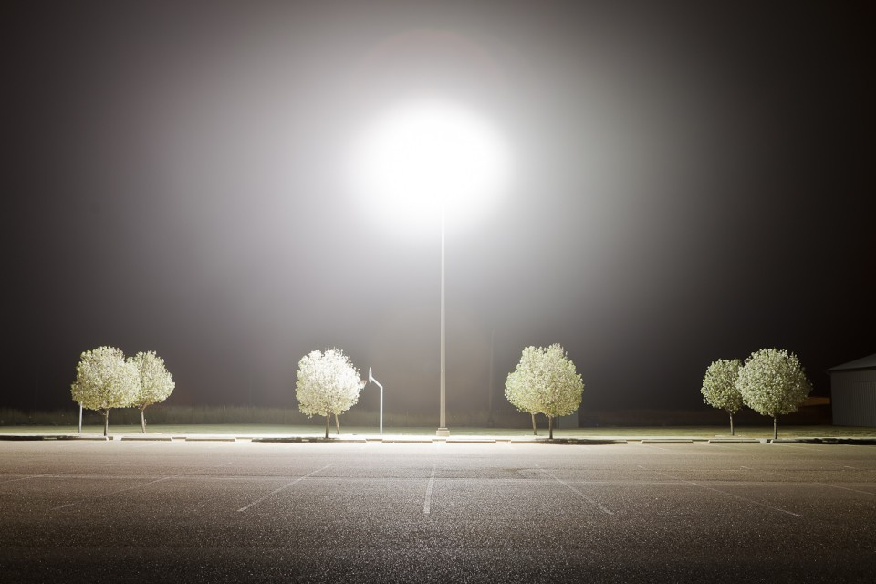 Ashton Glassell Thornhill, Plainview Parking Lot, Plainview, Texas, 2011, digital inkjet print.  Copyright Ashton Thornhill. Collection of The Grace Museum.