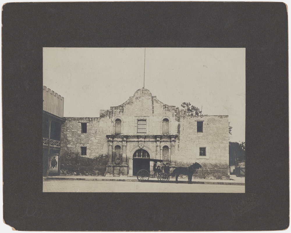 """Front View of the Alamo, Team-Drawn Wagon in Front,"" by Abraham Lewis, c. 1906. (Photo: Courtesy of the Amon Carter Museum of American Art)"