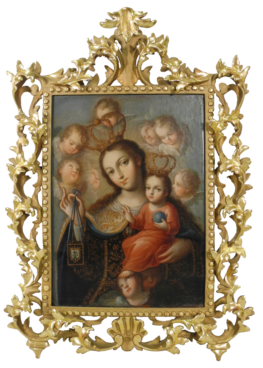 "Jose de Paez, Our Lady of Carmel, c. 1760, 17.25"" x 12.5"", oil on canvas. San Angelo Museum of Fine Arts. Museum purchase with funds from the Art and Eva Camuñez Tucker Foundation."