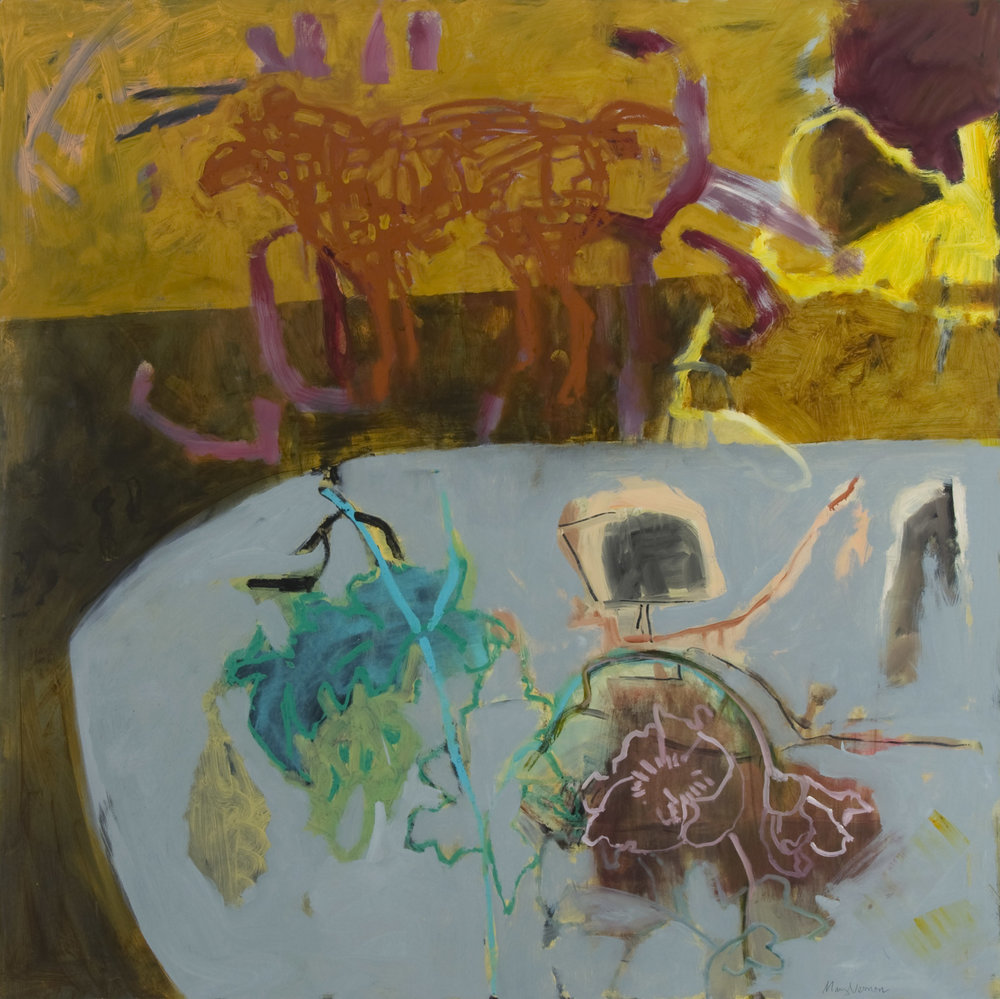 MARY VERNON, Green Table with Horse, 2013, oil and ink on gessoboard, courtesy of the artist.