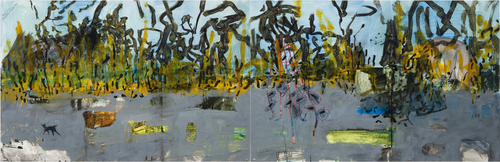 MARY VERNON,  Coney Island Garden , 2016, oil and graphite on Yupo, courtesy of the artist and Valley House Gallery and Sculpture Garden, Dallas, TX.