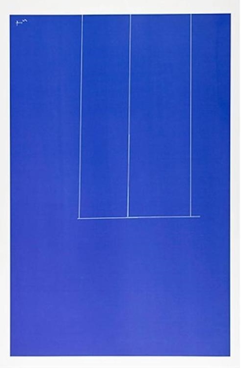ROBERT MOTHERWELL,  Untitled - Blue, London Series I,  1971, serigraph, on J.B. Green mould-made Double Elephant paper, Collection of The Grace Museum, Gift of Sanford Robertson
