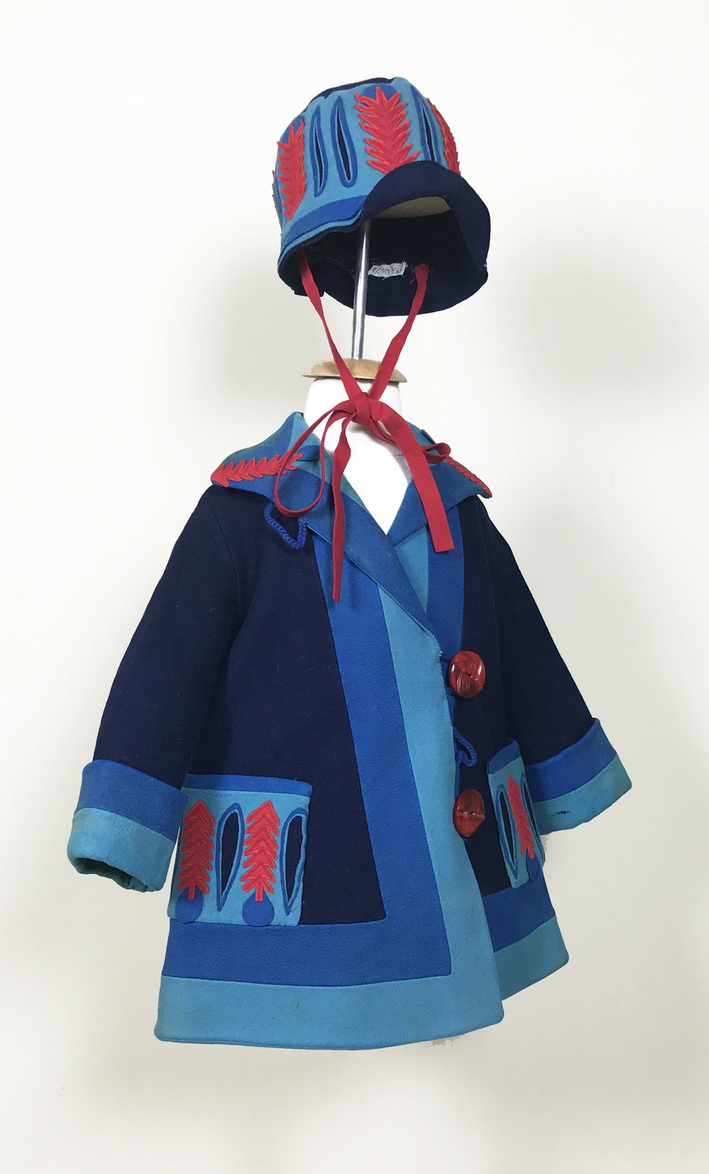 Girl's Jacket and Hat Ensemble, c. 1920s, Ars Lenci, Made in Italy, Torino, New-York, Paris, London, Manchester, wool and cotton, Collection of The Grace Museum, Gift of Ms. Martha Pender.