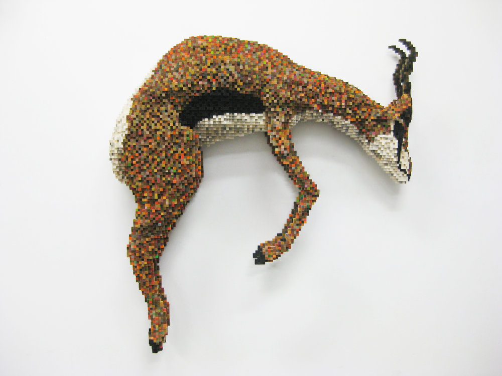 Shawn Smith, Stotting Thomson's Gazelle, 2014, 50 x 51 x 11 in, bass wood, balsa, ink, acrylic paint, courtesy of the artist.