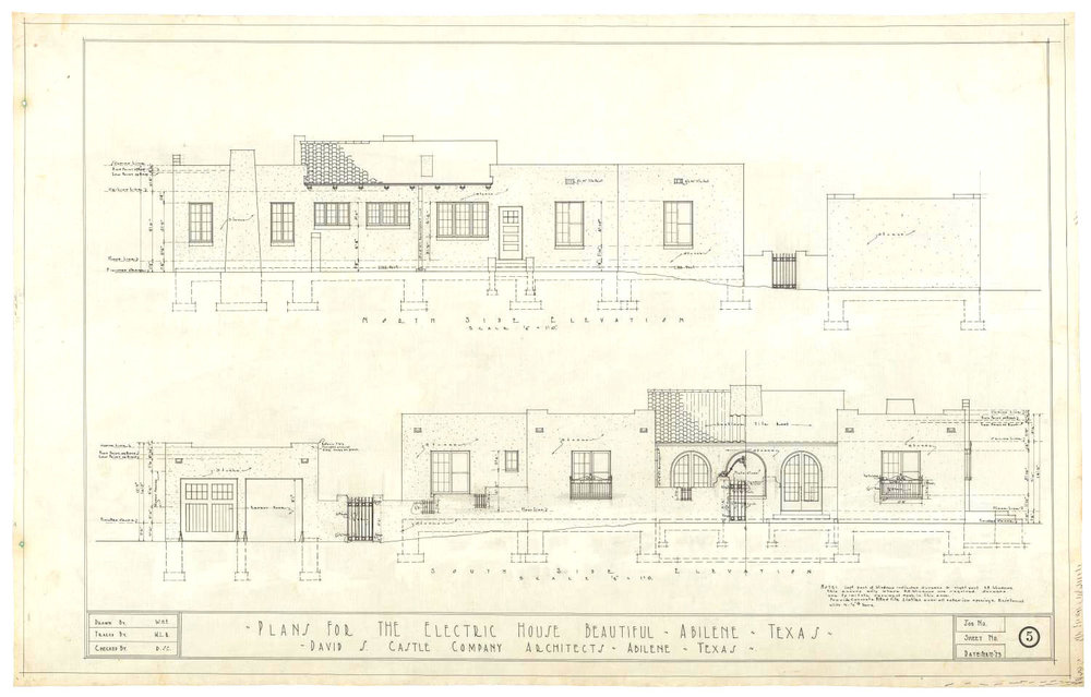 David S. Castle Co. Electric House Beautiful, Abilene, Texas: North and South Side Elevations, item, February 12, 1923;(texashistory.unt.edu/ark:/67531/metapth804849/m1/1/?q=electric%20house%20beautiful: accessed July 5, 2018),University of North Texas Libraries, The Portal to Texas History, texashistory.unt.edu; crediting Tittle-Luther/Parkhill, Smith and Cooper, Inc.