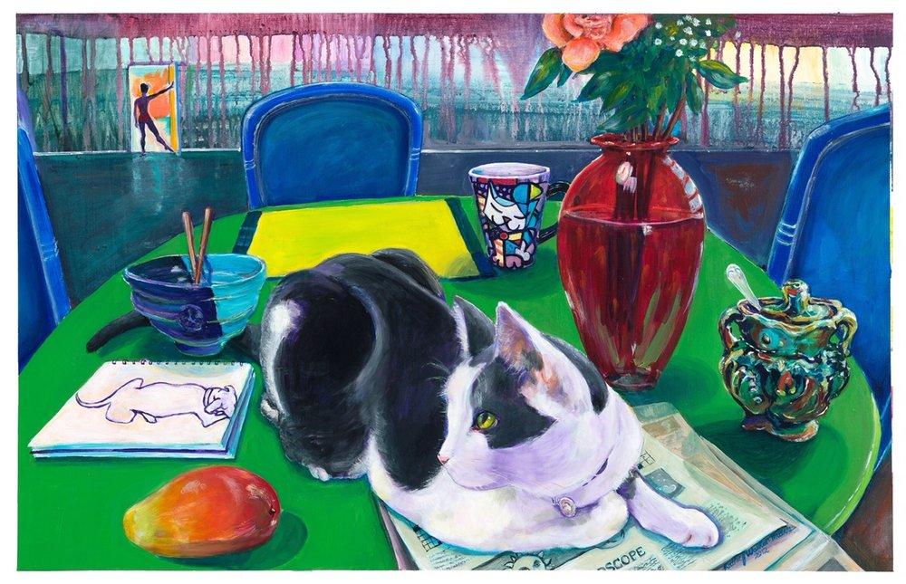 Kathie Walker-Millar, Cobweb and Mango, 2012, acrylic on paper