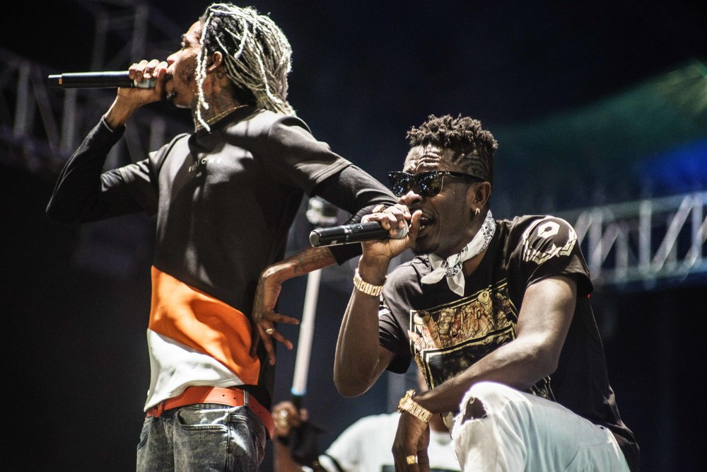 Alkaline(left) and Shatta Wale perform together